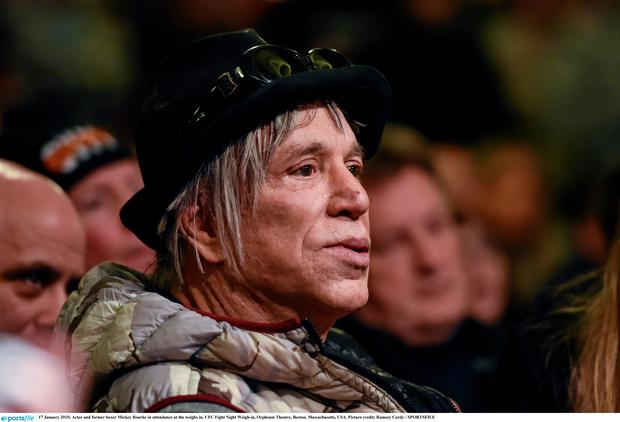 Actor and former boxer Mickey Rourke