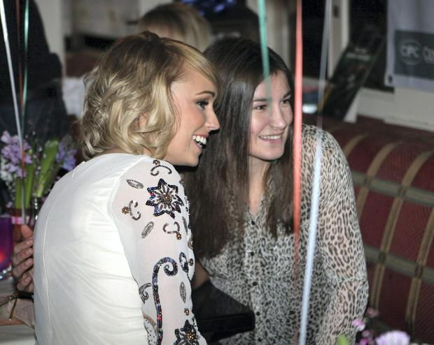 Stephanie Roche at her homecoming party at Brady's Pub, Shankill, Co. Dublin along with Katie Taylor