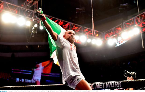 18 January 2015; Cathal Pendred celebrates after defeating Sean Spencer in their welterweight bout. UFC Fight Night, Cathal Pendred v Sean Spencer, TD Garden, Boston, Massachusetts, USA. Picture credit: Ramsey Cardy / SPORTSFILE
