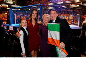 Family of Conor McGregor, from left, niece Taylor, girlfriend Dee Devlin, and parents Margaret and Tony at UFC Fight Night featuring Conor McGregor v Dennis Siver at the TD Garden, Boston, Massachusetts, USA. Picture credit: Ramsey Cardy / SPORTSFILE