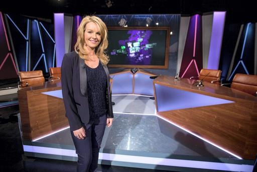 RT? Claire Byrne Live. Presenter Claire Byrne on the set of RTE's new current affairs TV show, Monday nights at 10.35pm on RTE One starting 19th January 2015. Picture Andres Poveda