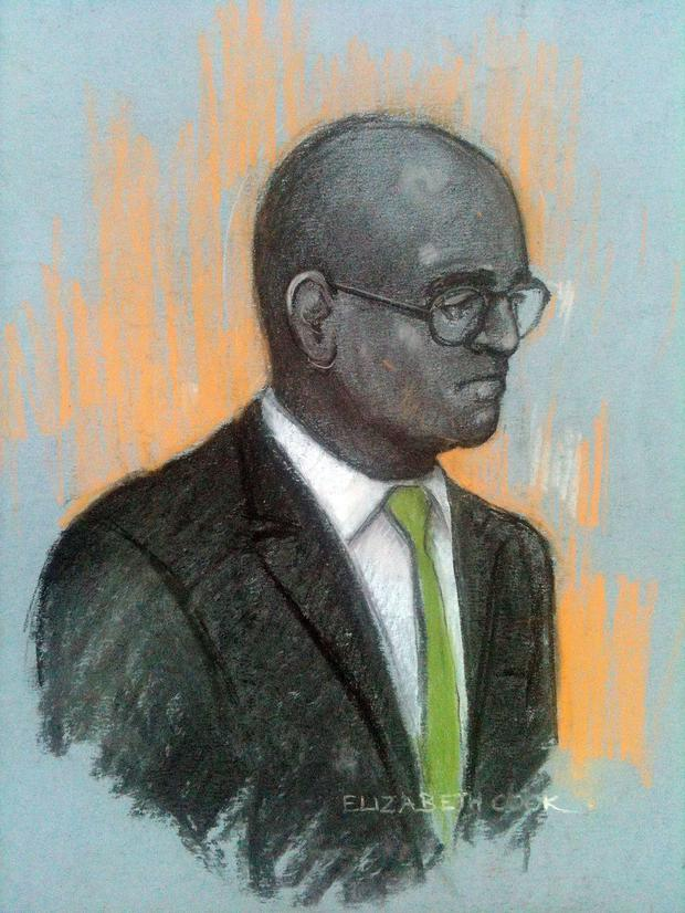 Court artist sketch by Elizabeth Cook of Dr Dhanuson Dharmasena appearing at Southwark Crown Court in London, where he and another man are facing the first prosecution linked to alleged FGM in England and Wales.Photo: Elizabeth Cook/PA Wire