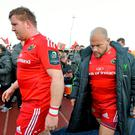 Stephen Archer and BJ Botha show their disappointment after Munster's defeat to Saracens. Photo: Brendan Moran / SPORTSFILE