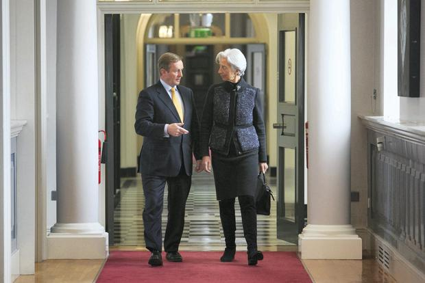 Taoiseach Enda Kenny TD & Managing Director of the IMF Christine Lagarde during a meeting between at Government Buildings, Dublin. Photo: Gareth Chaney Collins