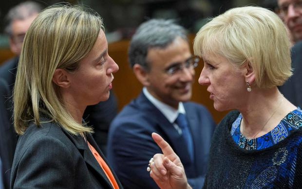 European Union High Representative for Foreign Affairs Federica Mogherini (L) talks with Sweden's Foreign Minister Margot Wallstrom at the start of a European Union foreign ministers meeting in Brussels. Talks will focus on the EU's relations with Russia and counter-terrorism policy following the Paris attacks.