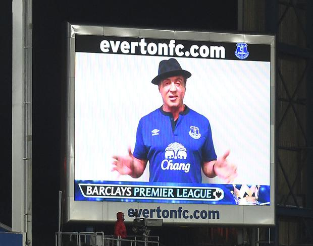 Actor Sylvester Stallone appears on the big screen wearing an Everton shirt at half-time between Everton and West Brom at Goodison Park.