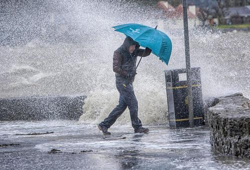 A status yellow weather warning is in place for coastal parts of the country today, as gales batter the north west