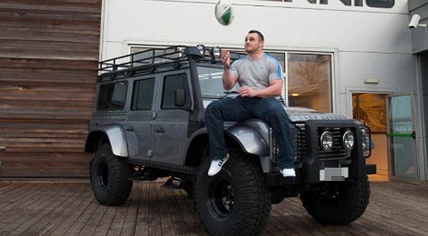 Cian Healy with his distinctive Land Rover