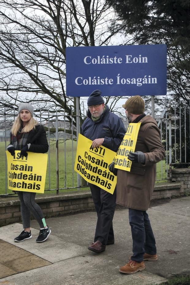 Teachers on strike at Colaiste Eoin, Stillorgan today.