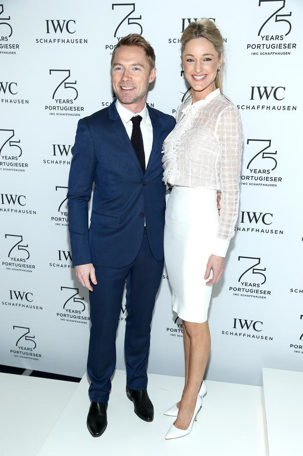 Ronan Keating (L) and Storm Uechtritz attend the IWC