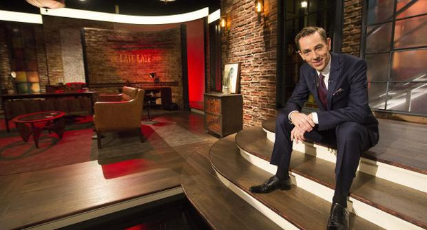 Ryan Tubridy pictured kicking off the New Year on the Late Late Show by unveiling a new set for the programme.