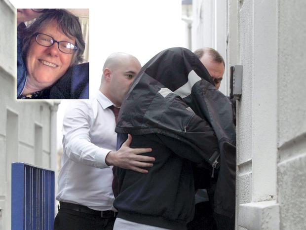 Fionn Braidwood, who is accused of the murder of his mother Jane Braidwood (inset), being led into court yesterday