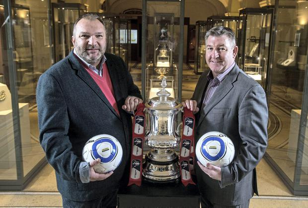 Neil Ruddock and Norman Whiteside at a reception in the National Museum of Ireland to announce details of Setanta Sports' coverage of the English FA Cup fourth round