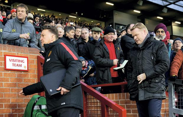 Louis van Gaal and Ronald Koeman at Old Trafford earlier this month. Koeman edged the battle of the Dutch managers as Southampton beat Manchester United 1-0