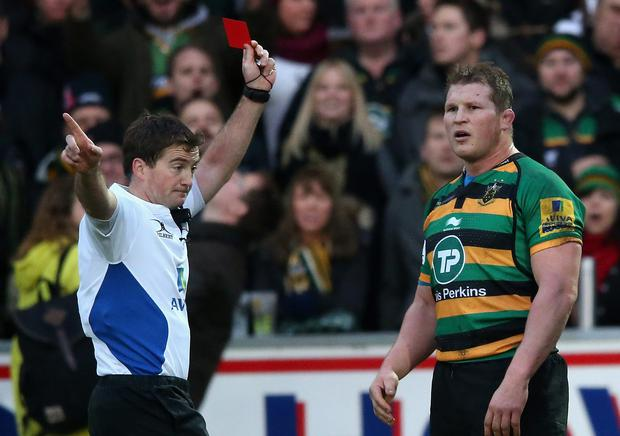 Dylan Hartley was hit with a three week ban after being sent off for elbowing Leicester centre Matt Smith in Northampton's 23-19 Premiership victory on December 20