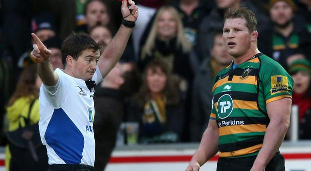 Dylan Hartley was hit with a three week ban after being sent off for elbowing Leicester centre Matt Smith in Northampton's 23-19 Premiership victory on December 20, 2014
