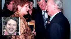 Terry Keane with Charles Haughey. (Inset) Diarmuid Gavin, who says she was remarkable woman.