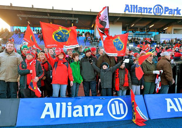 Munster supporters still manage to cheer their team after last week's 33-10 loss to Saracens at Allianz Park