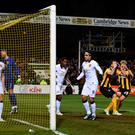 Josh Coulson of Cambridge United reacts to a missed opportunity during the FA Cup Fourth Round match between Cambridge United and Manchester United at The R Costings Abbey Stadium