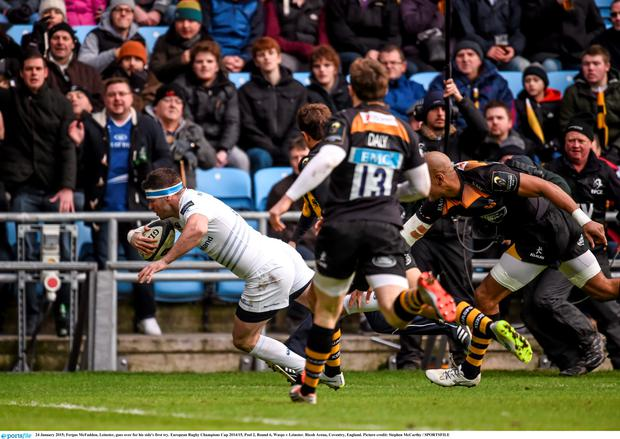 Fergus McFadden, Leinster, goes over for his side's first try. European Rugby Champions Cup 2014/15, Pool 2, Round 6, Wasps v Leinster. Ricoh Arena, Coventry, England. Picture credit: Stephen McCarthy / SPORTSFILE