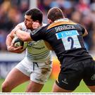 24 January 2015; Rob Kearney, Leinster, is tackled by Edd Shervington, Wasps. European Rugby Champions Cup 2014/15, Pool 2, Round 6, Wasps v Leinster. Ricoh Arena, Coventry, England. Picture credit: Stephen McCarthy / SPORTSFILE