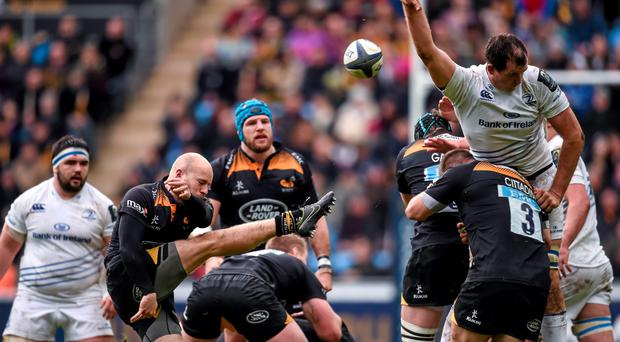 24 January 2015; Joe Simpson, Wasps, has his kick blocked down by Devin Toner, Leinster. European Rugby Champions Cup 2014/15, Pool 2, Round 6, Wasps v Leinster. Ricoh Arena, Coventry, England. Picture credit: Stephen McCarthy / SPORTSFILE