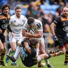 Wasps' Elliot Daly stops the run of Leinster's Fergus McFadden