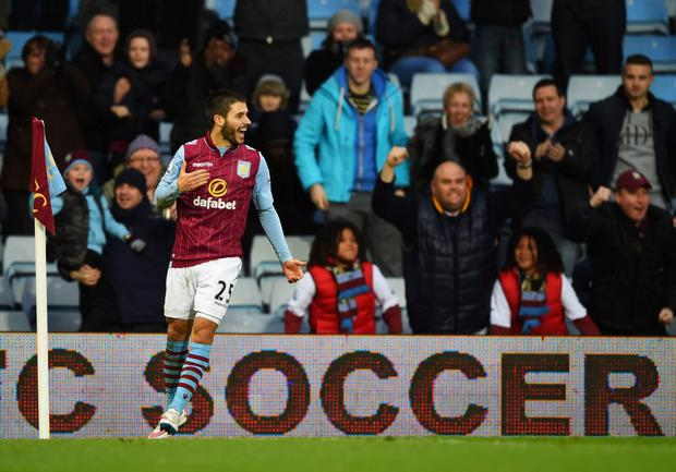 Carles Gil of Aston Villa celebrates scoring the opening goal during the FA Cup Fourth Round match between Aston Villa and AFC Bournemouth at Villa Park