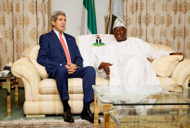 John Kerry meets with Nigerian president Goodluck Jonathan at the State House in Lagos on the US secretary of state's visit to the country to urge its rival political camps to respect the outcome of the forthcoming presidential election. Photo: REUTERS/Akintunde Akinleye