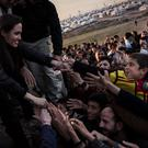 Film star and UNCHR ambassador Angelina Jolie visiting Syrian refugees and displaced Iraqi citizens in the Kurdistan Region of Iraq yesterday.