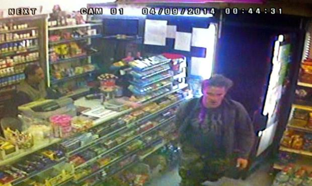 CCTV still of Arnis Zalkalns in a west London corner shop Credit: Metropolitan Police/PA Wire