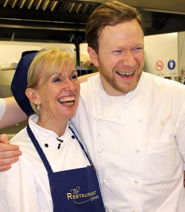 Marie Cassidy and chef Stephen McAllister in The Restaurant on TV3. Far left: Dr Cassidy in her forensic gear. Picture: Press 22