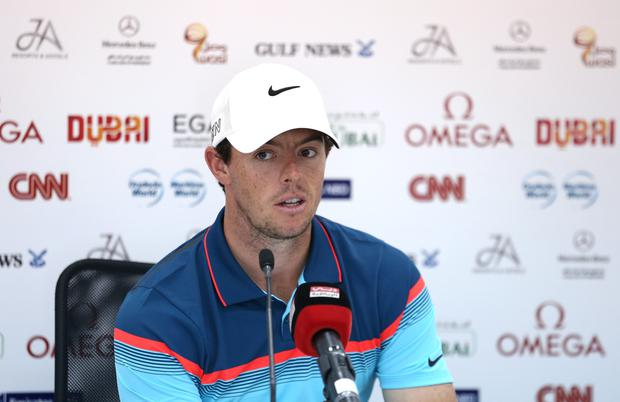 DUBAI, UNITED ARAB EMIRATES - JANUARY 28: Rory McIlroy of Northern Ireland addresses a press conference ahead of the Omega Dubai Desert Classic on the Majlis Course at the Emirates Golf Club on January 28, 2015 in Dubai, United Arab Emirates (Photo by Warren Little/Getty Images)