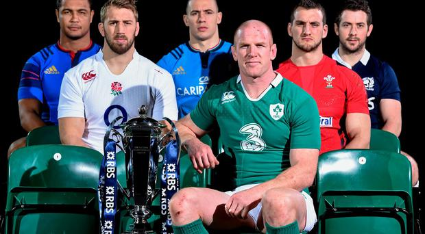 Ireland's Paul O'Connell (third from right) leads the call of captains at the official launch of the Six Nations in the Hurlingham Club, London, yesterday alongside his fellow skippers (from left): France's Thierry Dusautoir, Chris Robshaw of England, Italy's Sergio Parisse, Sam Warburton of Wales and Scotland's Greig Laidlaw. Photo: Ramsey Cardy / SPORTSFILE