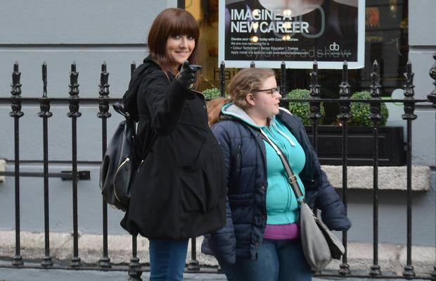 Heavily pregnant Jennifer Maguire spotted filming her RTE show The Unemployables