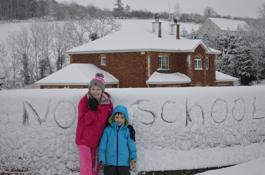 Leanne and Rhys celebrate their day off school in Bailieborough. Photo: Barbara Englishby