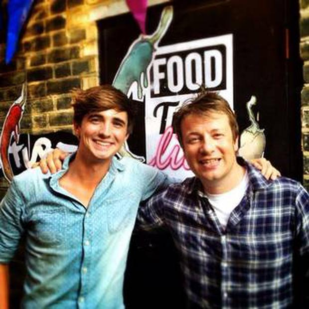 Jamie Oliver pictured with Donal Skehan