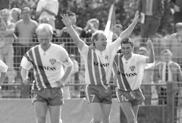 Dave Barry (centre) scoring against Bayern Munich with Pat Morley