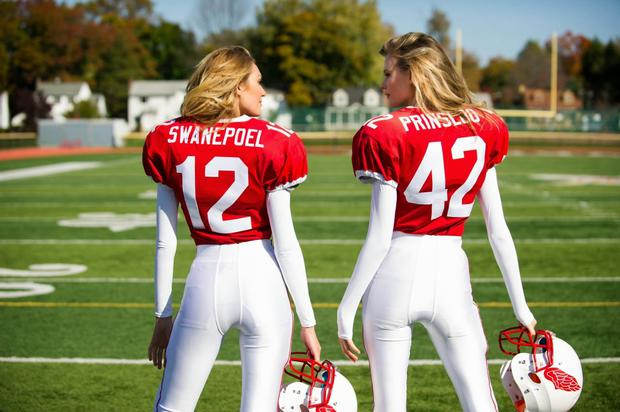 Victoria's Secret Angels Candice Swanepoel and Behati Prinsloo get Super Bowl ready