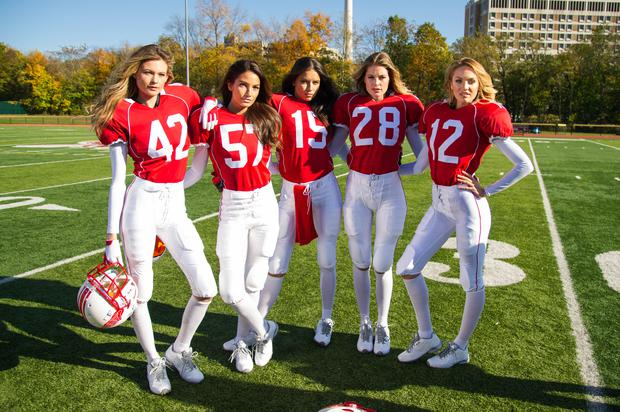 Victoria's Secret Angels (L to R) Behati Prinsloo, Lily Aldridge, Adriana Lima, Doutzen Kroes and Candice Swanepoel get Super Bowl ready