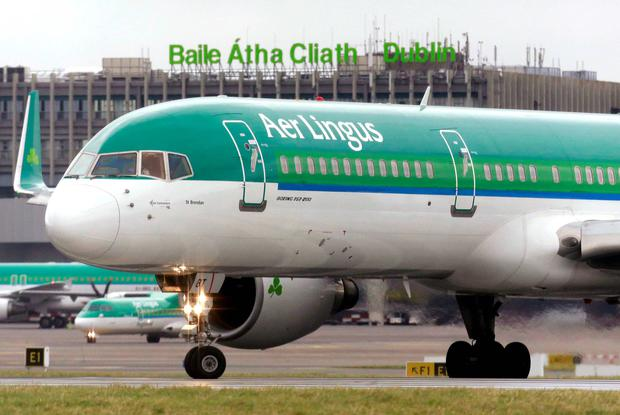 An Aer Lingus plane taxis before take off at Dublin airport. Reuters