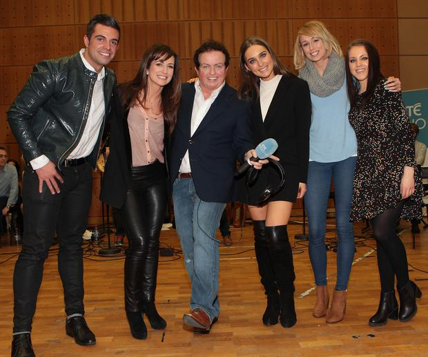 Mr Ireland Karl Bowe, Lorraine Keane, Marty Morrissey, Roz Purcell, Stephanie Roche and Melanie McCabe at Marty's RTE party