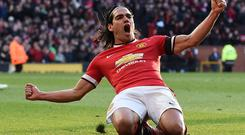 Radamel Falcao celebrates scoring Manchester United's second goal in the win over Leicester City yesterday