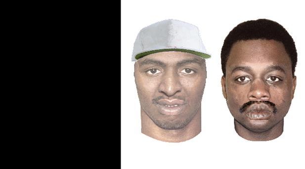 """Wanted Subject #1 (left): Black Male, in his 30s , 5'08"""" tall, light complexion, had facial stubble which included some grey hairs, wearing a grey ball cap with an unknown design Wanted Subject #2 (right): Black Male, late 30s or early 40s and armed with a firearm."""