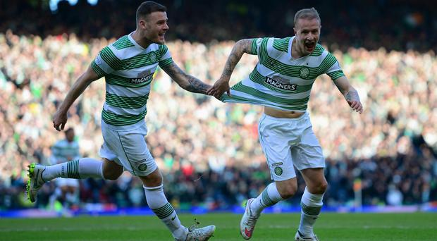 Leigh Griffiths celebrates scoring the opening goal with Anthony Stokes during the Scottish League Cup Semi-Final between Celtic and Rangers at Hampden Park