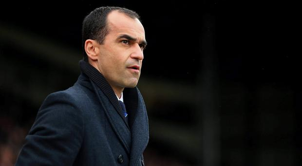 Everton manager Roberto Martinez on the touchline during the Barclays Premier League match at Selhurst Park