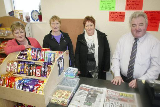 Staff Geraldine Heneghan, Sheila McDermott and Ita Kelly pictured with Bernard Kearney, proprietor of the newly opened village shop in Fourmilehouse, Co Roscommon. Photo: David Walsh