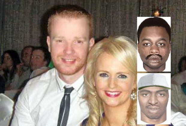 Police photofits of suspects (insets) in the shooting of Garda Brian Hanrahan, pictured with his wife Emma.
