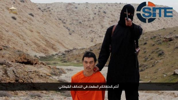 Islamic State militants said they had beheaded a second Japanese hostage,Goto, prompting Prime Minister Shinzo Abe to vow to step up humanitarian aid to the group's opponents in the Middle East and help bring his killers to justice. Japanese Defense Minister Gen Nakatani said the video appeared to be genuine (REUTERS/Site Intel Group via Reuters TV)