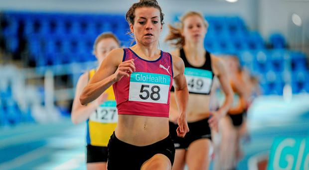 Ciara Everard, UCD AC, on her way to winning the Senior Womens 800m event, in a time of 2.03.39, which qualifies Ciara for the European Indoor Championships in Prague
